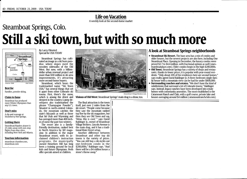 USA Today article about Steamboat from Oct 23, 2009